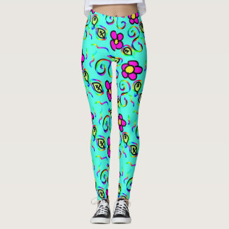 blue background and pink flowers leggins leggings