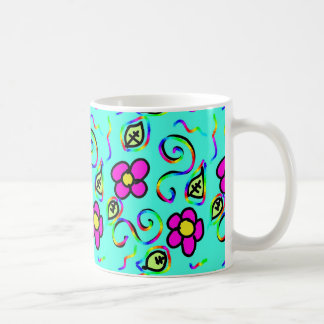 blue background flowers mug
