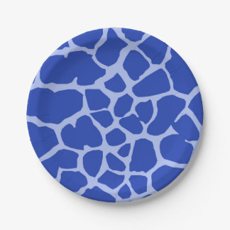 Blue background giraffe wild jungle animal paper plate