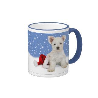 Blue Background Let It Snow Christmas Mug