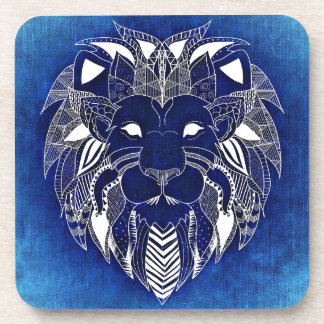 Blue Background Lion Cat Beverage Coasters