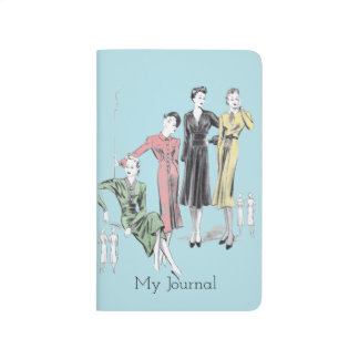 Blue background vintage print personal journal