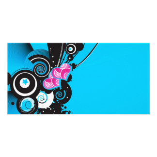 blue-background-with-shapes personalised photo card