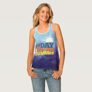 Blue Background With Summer Quote Tank top