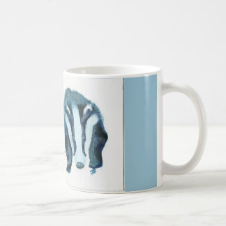 Blue Badger on blue background Coffee Mug