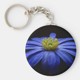 Blue Balkan Anemone flower Basic Round Button Key Ring
