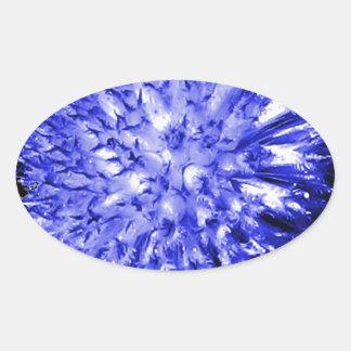 Blue Ball Flower Oval Sticker