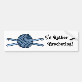 Blue Ball of Yarn & Crochet Hooks Bumper Sticker