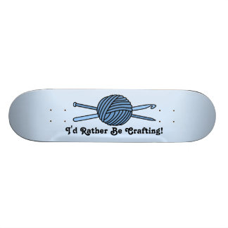 Blue Ball of Yarn Knit Crochet Custom Skateboard