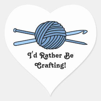 Blue Ball of Yarn (Knit & Crochet) Heart Sticker