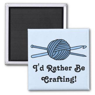 Blue Ball of Yarn (Knit & Crochet) Square Magnet