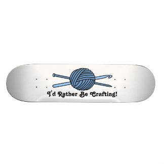 Blue Ball of Yarn Knit Crochet Skateboard