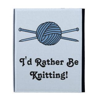 Blue Ball of Yarn & Knitting Needles iPad Case