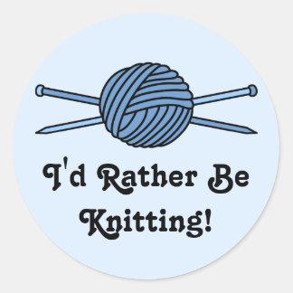 Blue Ball of Yarn Knitting Needles Round Sticker
