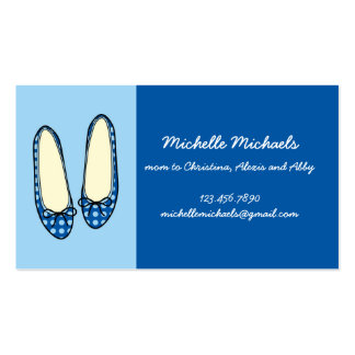 Blue Ballet Flat Shoes Double-Sided Standard Business Cards (Pack Of 100)