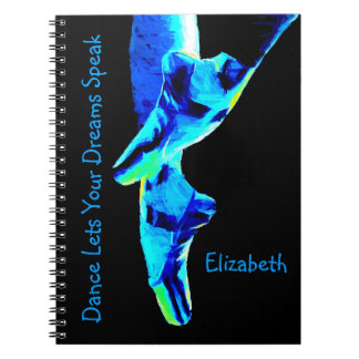 Blue Ballet Pointe Slippers Personalized Notebooks