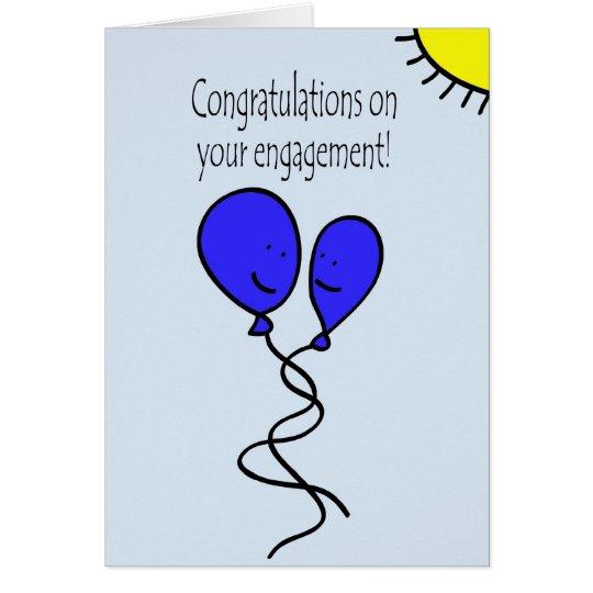 Blue Balloon Engagement Congratulations Card