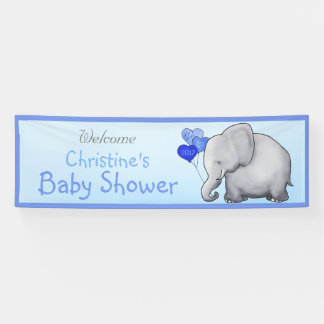 Blue Balloons Elephant Boy Baby Shower Banner