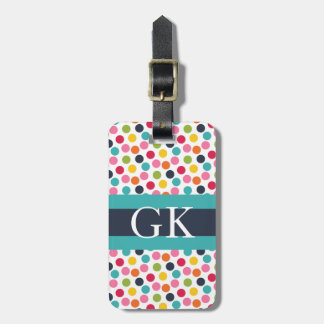 Blue Band Polka Dot Monogram Luggage Tag