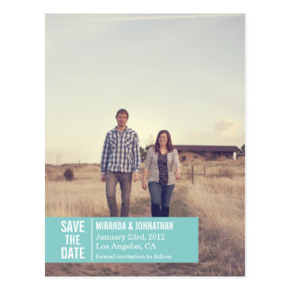Blue Banner Photo Save The Date Post Cards
