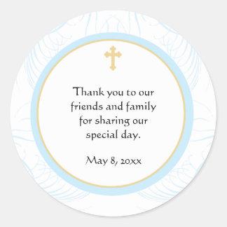 Blue Baptism/Christening Favor Sticker