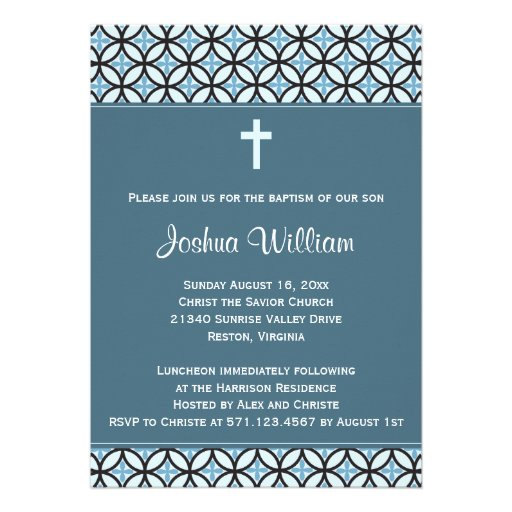 Blue Baptism/Christening Invite (no photo) Personalized Announcements