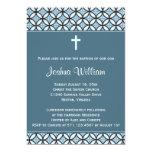 Blue Baptism/Christening Invite (no photo) 13 Cm X 18 Cm Invitation Card