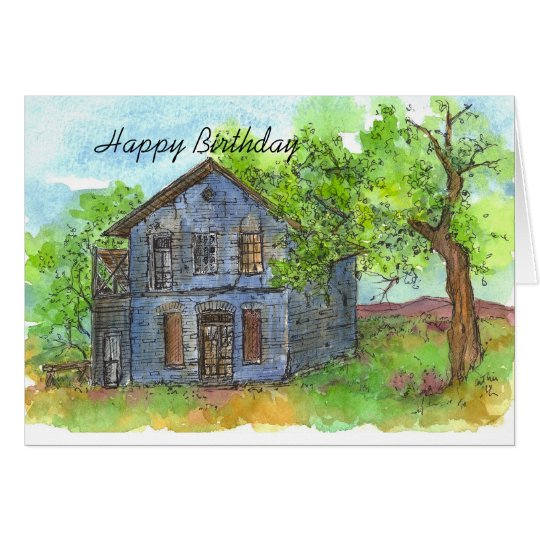 Blue Barn House Happy Birthday Desert Landscape Card