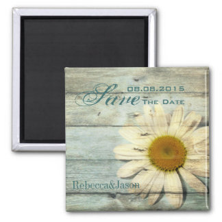 blue barnwood country daisy wedding save the date square magnet