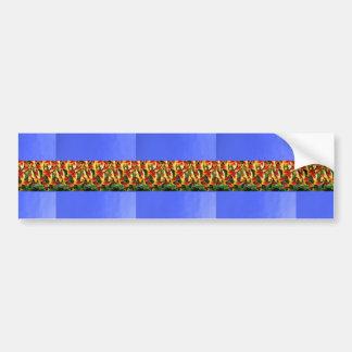 Blue Base Flower Pattern Abstrack Strips Gifts fun Car Bumper Sticker