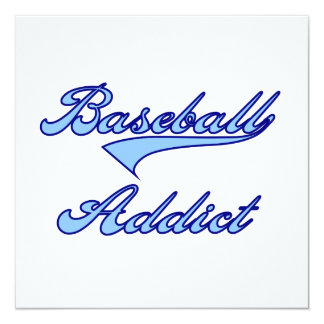 "Blue Baseball Addict T-shirts and Gifts 5.25"" Square Invitation Card"