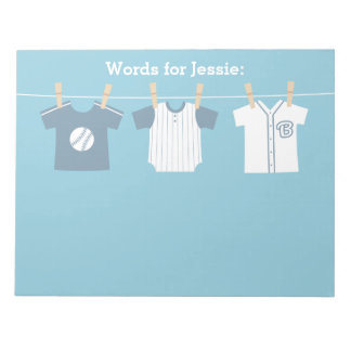 Blue Baseball Baby Boy and Mommy to Be Notepads