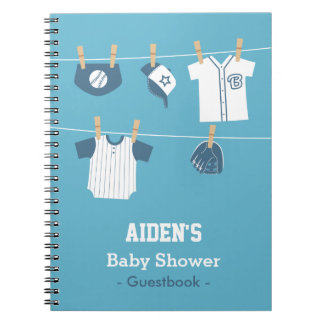 Blue Baseball Baby Boy Shower Guestbook Spiral Notebook