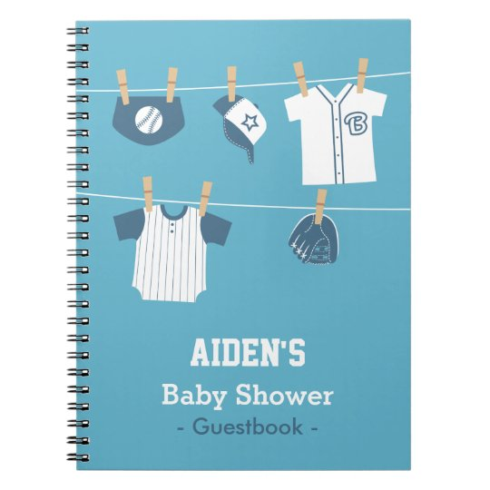 Blue Baseball Baby Boy Shower Guestbook Spiral Notebook