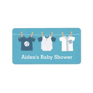 Blue Baseball Baby Boy Shower Party Labels