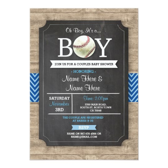 Blue Baseball Baby Shower Boy Sports Wood Invite