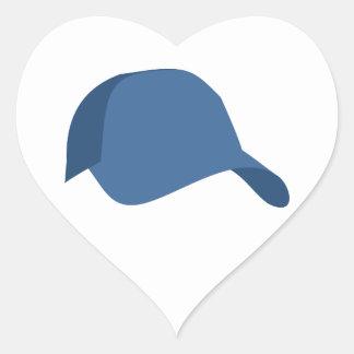 Blue baseball cap heart sticker