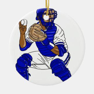 Blue baseball catcher christmas ornament