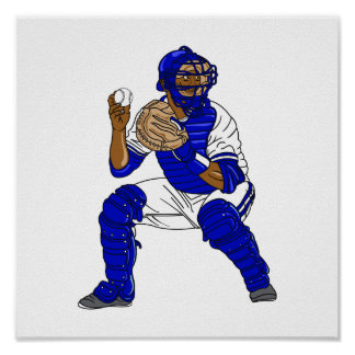 Blue baseball catcher poster