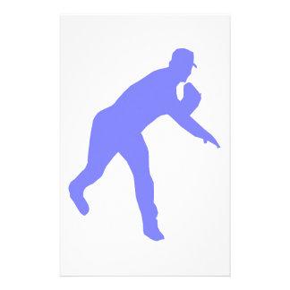 Blue Baseball Pitcher Silhouette Stationery
