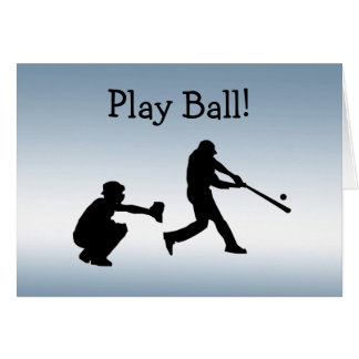 Blue Baseball Play Ball Sports Blank Card