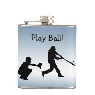 Blue Baseball Play Ball Sports Flask