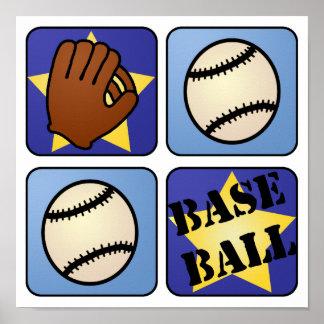 Blue Baseball Poster