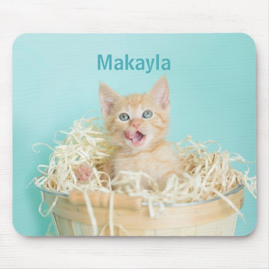 Blue basket Kitten Lala Mouse Mat