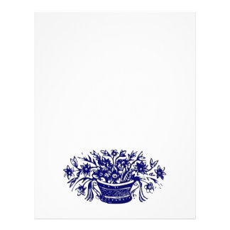 Blue Basket of Flowers Woodcut Artwork 21.5 Cm X 28 Cm Flyer
