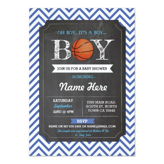 Blue BasketBall Boy Baby Shower Sports Invite