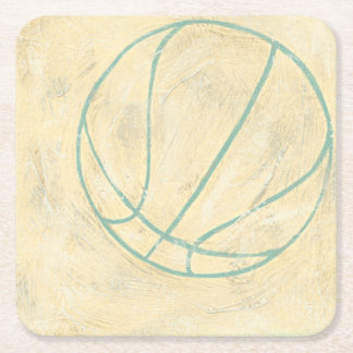 Blue Basketball by Chariklia Zarris Square Paper Coaster