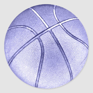 Blue Basketball Classic Round Sticker