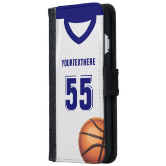 Blue BasketBall Dress Name Number iPhone 6 Wallet Case