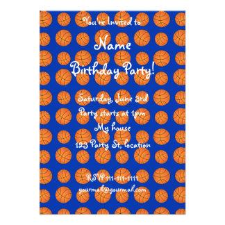 Blue basketball pattern custom invites